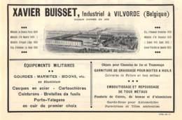1927 - VILVORDE - Industrielle - Xavier BUISSET - Dim. 1/2 A4 - Advertising