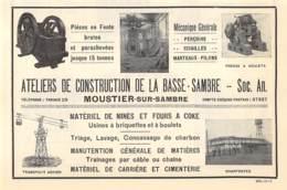 1927 - MOUSTIER-sur-SAMBRE - S.A. Des Ateliers De Construction De La Basse-Sambre - Dim. 1/2 A4 - Reclame