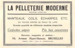 1927 - BRUXELLES - Avenue Huart-Hamoir - La Pelleterie Moderne - Dim. 1/2 A4 - Reclame