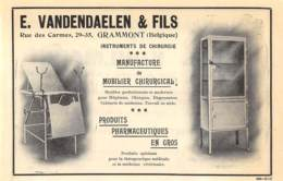 1927 - GRAMMONT - Rue Des Carmes - Instruments De Chirurgie - E. VANDENDAELEN & Fils - Dim. 1/2 A4 - Publicidad