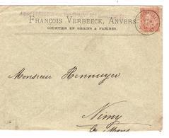 AP2206/ TP 57 FB S/L. Entête Verbeeck Grains&Farine C.Ambulant Anvers-Bruxelles 2 1897 V.Nimy Lettre Rabotée Bas - Bahnpoststempel