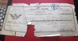 1891 SOCIETE SUISSE ASSURANCE COLLECTION COMBINEE 60.60 Francs S-Facture & Document Commerciaux Suisse - Switzerland