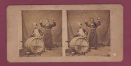 260419B - PHOTO STEREO - Humour Alcool Tonneau Religion - Le Chalumeau - Stereoscopic