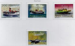 PIA  -  FAROER  -  1992  : Battelli Postali A Vapore  -  (Yv 221-24) - Isole Faroer