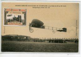 51 REIMS Aout 1909 Grande Semaine AVIATION Vignette Aviateur DELAGRANGE Pren Son Vol  LiB Michaud   D07 2019 - Reims