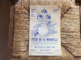 Programme De La Fête De La Mirabelle.Nancy .1967 - France