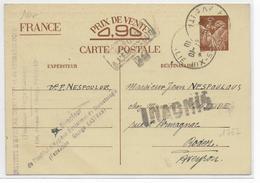 """1940 - INVASION ALLEMANDE - IRIS - CARTE ENTIER De PARIS """"INADMIS"""" => RODEZ (AVEYRON) - Marcophilie (Lettres)"""