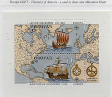 PIA  -  FAROER -  1992  : Europa : 5° Centenario Della Scoperta Dell' America  -  (Yv   Bf 5) - Isole Faroer