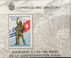 Uruguay 1991 Swiss Confederation 700TH. Anniv.S/S - Uruguay