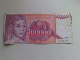 Yugoslavia  100000 Dinar Banknote Date 1989 - Yugoslavia