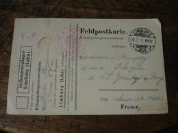Camp Prisoniers Limburg Lahn Censure Allemande  Franchise Postale Militaire Guerre 14.18 - Marcophilie (Lettres)