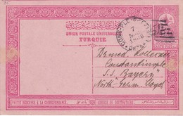 TURQUIE 1908   ENTIER POSTAL/GANZSACHE/POSTAL STATIONERY CARTE AVEC CACHET FERROVIAIRE/ZUGSTEMPEL - Cartas