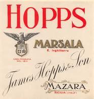 """D9267 """" HOPPS - MARSALA E INGHILTERRA - TAMES HOPPS & JON - MAZARA DEL VALLO (SICILIA) """".  ETICHETTA ORIG. - Etichette"""
