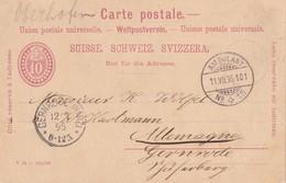 SUISSE 1895  ENTIER POSTAL/GANZSACHE/POSTAL STATIONERY CARTE DE OBERHOFEN AVEC CACHET AMBULANT - Ferrovie