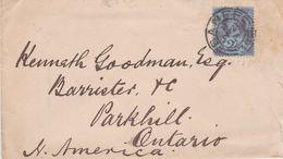 Great Britain-1894 QV 2 1/2d Blue Jubilee On Banff, Scotland Cover To Canada - 1840-1901 (Victoria)