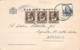 1836.- TARJETA POSTAL DE SANTANDER A MADRID. ED. 681 X3 + 683. DOBLE PORTE. MARCA DEL FRENTE POPULAR DE IZQUIERDAS - 1931-Hoy: 2ª República - ... Juan Carlos I