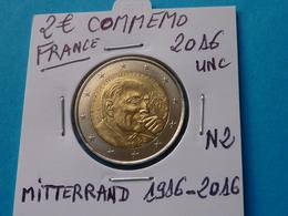 2 EURO COMMEMO MITTERRAND  FRANCE 1916 / 2016 Unc  ( 2 Photos  ) - Francia