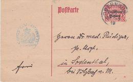 Bavaria-1919 10 Pf Carmine On Pink Overprint PS Postcard Obernburg Cover - Bavière