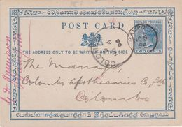 Ceylon-1894 QV Period 2 Cents Blue PS Postcard Gampola Cover To Colombo - Ceylan (...-1947)
