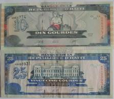 Billets D'Haîti De 10 Et 25 Gourdes 2000 Neufs/UNC Pick 265 Et 266 - Haiti