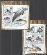 TT1343 2016 CENTRAL AFRICA FAUNA MARINE LIFE DOLPHINS LES DAUPHINS KB+BL MNH - Dauphins