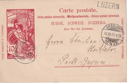 SUISSE 1900 ENTIER POSTAL/GANZSACHE/POSTAL STATIONERY CARTE AVEC CACHET AMBULANT GRIFFE LUZERN - Spoorwegen
