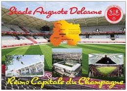 Stade De Football - Stade Auguste Delaune - REIMS - Capitale Du Champagne - 4 Vues + Carte Géo - Cpm - Vierge - - Voetbal