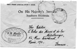 "RHODESIE.1951.RARE ""GEOLOGICAL SURVEY OFFICE-SALISBURY"".CAD FRANCHISE. - Géologie"