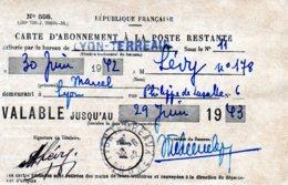 """FRANCE.1943.RARE """"CARTE ABONNEMENT A LA POSTE RESTANTE"""" - Philatélie & Monnaies"""