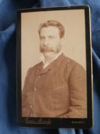 Photo CDV  Mandy à Bucarest  Beau Portrait Homme  Moustache Et Favoris  CA 1890 - L436F - Foto's