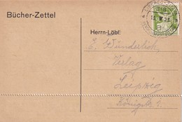 TCHECOSLOVAQUIE 1923   ENTIER POSTAL/GANZSACHE/ CARTE   AVEC CACHET FERROVIAIRE/ZUGSTEMPEL LIBEREC-ZITAVA - Postal Stationery