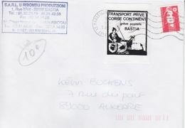 Timbre De Grève Postale De Bastia Obl. Flamme Marseille Le 9/3/95 + TP Marianne Du Bicentenaire Pour Auxerre - Grève