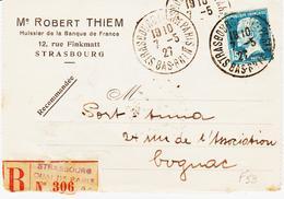 France, Strasbourg Quai De Paris , Recommandé En 1927 Sur Pasteur   TB - Cachets Manuels