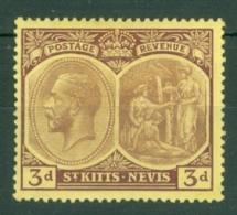 St Kitts-Nevis: 1920/22   KGV    SG29    3d      MH - St.Christopher-Nevis-Anguilla (...-1980)