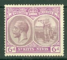 St Kitts-Nevis: 1920/22   KGV    SG30    6d      MH - St.Christopher-Nevis-Anguilla (...-1980)