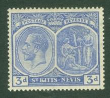 St Kitts-Nevis: 1921/29   KGV    SG45    3d   Dull Ultramarine   MH - St.Christopher-Nevis-Anguilla (...-1980)