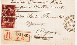 France, De Callac De Bretagne (cote Du Nord ) Recommandé En 1918   TB - Poststempel (Briefe)