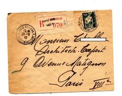 Lettre Recommandee Paris XVIII Annexe 1 Sur Petain - Postmark Collection (Covers)