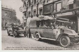 C.P. - DÉPART D'UN CIRCUIT DE L'AGENCE DES GRANDS VOYAGES - PARIS - BUS - VOITURE - 1986 - REPRODUCTION - Transporte Público