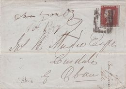 Great Britain-1845 QV 1d Red On Blue Paper On Inverness, Scotland Cover To Oban - 1840-1901 (Victoria)