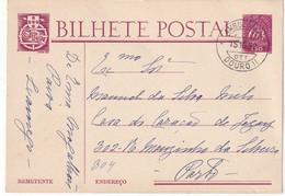 PORTUGAL 1952 ENTIER POSTAL/GANZSACHE/POSTAL STATIONERY CARTE AVEC CACHETAMBULANT ZUGSTEMPEL - 1910-... Republiek