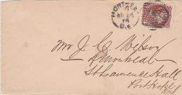 Canada-1874 3 Cents Brown On Montreal Q.E. Letter Cover To Port Hope, C.W. - 1851-1902 Règne De Victoria