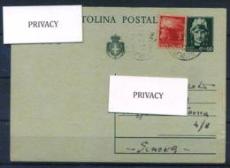 Italia Repubblica 1945 Sass. -- Intero Postale 100% Cartolina Postale - Viaggiata - 1900-44 Vittorio Emanuele III