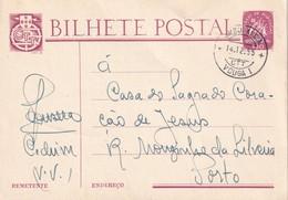 PORTUGAL 1955 ENTIER POSTAL/GANZSACHE/POSTAL STATIONERY CARTE AVEC CACHETAMBULANT ZUGSTEMPEL - 1910-... Republiek