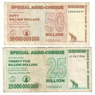 Zimbabwe Lot Set 25 & 50 Billions - Sample Image Of Circulated Banknotes - Zimbabwe