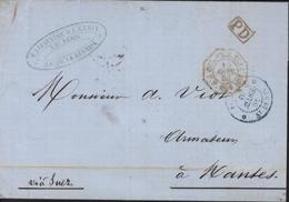 Cachet Rouge PD + Octogonal Rouge COL FR V SUEZ PP AMB MAR 1 AVRIL 68 + CAD St Denis Bleu 19 Mars 1868 - Réunion (1852-1975)