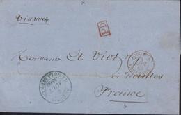 Cachet Rouge PD + CAD Entrée Rouge COL FRA V SUEZ AMB 3 SEPT 60 + CAD Bleu St Denis Île De La Réunion 6 Août 1860 - Storia Postale