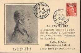 CPA LIPHI Bi Centenaire Evariste Désiré De Forges De Parny Poète Créole CAD Saint Denis Réunion 15 6 1953 YT 299A - Covers & Documents