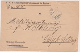 Bosnia-1915 WW 1 Austria Period K Und K Military Post Mostar Cover To Hungary - 1850-1918 Empire