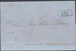 1855. Pr. Slesvig FRA KIEL  To Copenhagen 22. Maj 1855 Porto 6 () - JF306163 - Postage Due